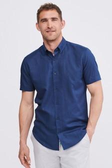 Linen Cotton Blend Shirt With Trim Detail