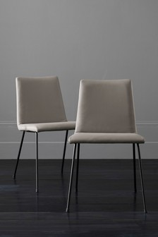 Set Of 2 Alby Dining Chairs With Black Legs