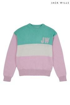 Jack Wills Girls Pink Oversized Block Knit Jumper