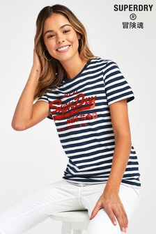 Superdry Navy Satin Stripe Entry T-Shirt