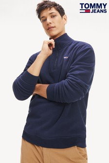 Tommy Jeans Polar Blue Fleece Mock Neck Top
