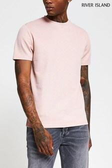River Island Pink Light Slim Chevron Textured T-Shirt