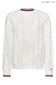 Tommy Hilfiger White Essential Knot Sweater