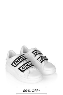 Emporio Armani Boys White Leather Trainers
