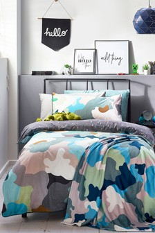 Scandi Camo Reversible Duvet Cover And Pillowcase Set