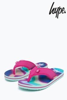 Hype. Blue Rainbow Wave Kids Foam Flip Flops