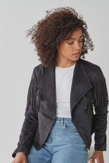 Faux Suede Fringed Jacket