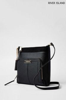 River Island Black Zip Pocket Messenger Bag