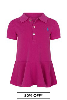 Ralph Lauren Kids Baby Girls Purple Pique Poloshirt