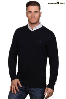 Raging Bull Navy Signature V-Neck Sweater