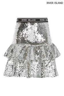 Серебристая юбка с воланами и пайетками River Island
