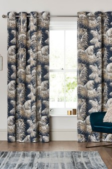 Navy Metallic Leaf Eyelet Curtains