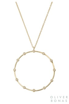 Oliver Bonas Gold Plated Delta Circle & Dot Pendant Necklace
