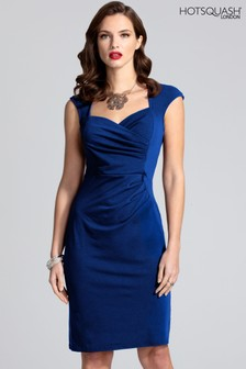HotSquash Midnight Blue Short Sleeved Dress With Crossover Top