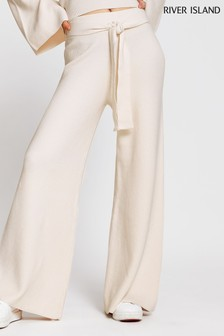 River Island Cream Wide Leg Smart Lounge Trousers