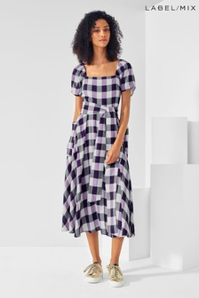 Next/Mix Gingham Square Neck Dress