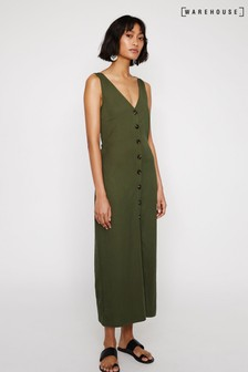 Warehouse Green Pique Button Through Dress