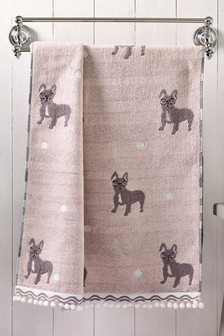 Pink Frenchie Dog Towel