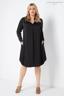 Live Unlimited Black Gather Neck Satin Dress