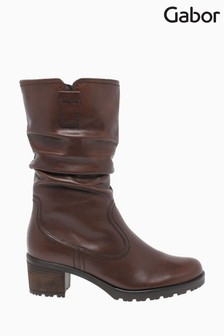 Gabor Dunmow Caramello Leather Calf Length Fashion Boots