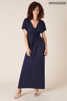 Monsoon Blue Jessica Slinky Jersey Maxi Dress