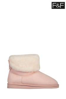 F&F Pink Faux Fur Cuff Booties