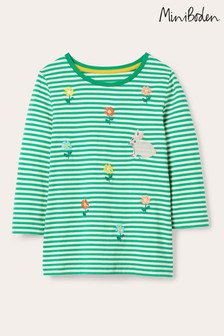 Boden Green Embroidered Stripy T-Shirt