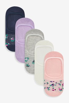 Floral Invisible Socks Five Pack