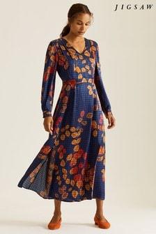 Jigsaw Blue Gingham Leaf Midi Dress
