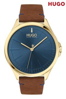 HUGO Brown Smash Leather Strap Watch