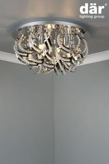 Dar Lighting Silver Mezen 5 Light Flush Fitting