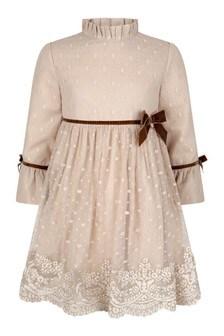 Girls Beige Lace Dress