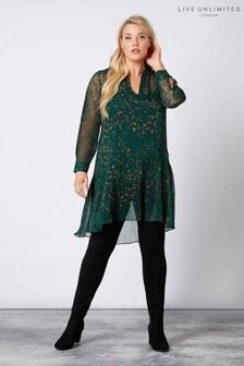 Live Unlimited Green Animal Print Drop Waist Dress