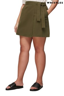 Whistles Khaki A-Line Skirt