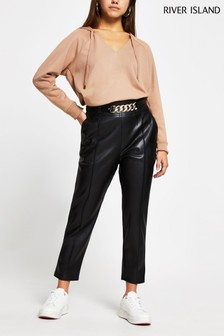 River Island Petite Black Cigarette Chain Belt Pants