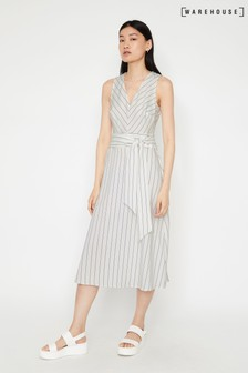 Warehouse Natural Stripe V-Neck Midi Dress