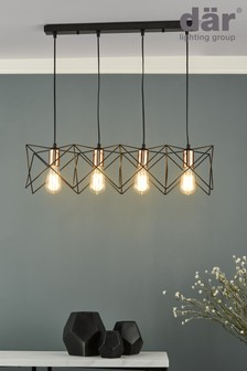 Dar Lighting Black Midi 4 Light Pendant