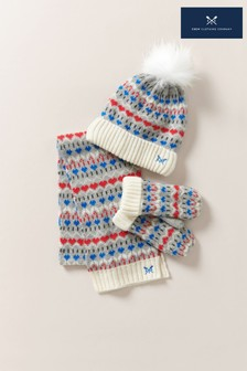 Crew Clothing Company Blue Fairisle Hat, Gloves, Scarf Set