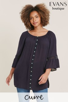 Evans Curve Navy Lace Detail Gypsy Top