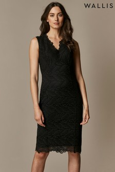 Wallis Black Lace Scallop Dress