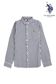 U.S. Polo Assn. Gingham Long Sleeve Poplin Shirt