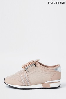 River Island Pink Embroidered Strap Runner Trainers