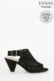 Evans Black Extra Wide Fit Laser-Cut Cone Heel Shoes