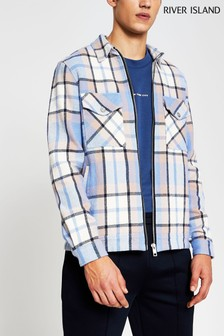 River Island Blue Light Check Overshirt