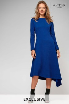 Sonder Blue Rib Asymmetric Dress