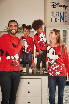 Kids Matching Family Minnie Mouse™ Christmas Long Sleeve T-Shirt (3mths-16yrs)