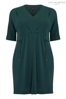 Live Unlimited Green Jersey Drawstring Waist Dress