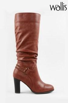 Wallis Wild Tan Strap Detail High Leg Boots