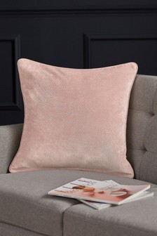 Blush Pink Soft Velour Square Cushion