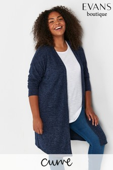 Evans Curve Blue Soft Touch Cardigan